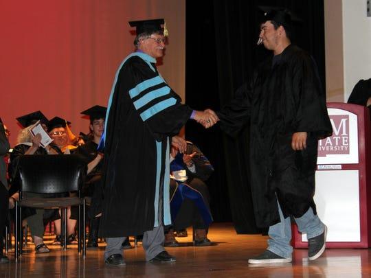NMSU Carlsbad President John Gratton congratulated graduates during Friday's ceremony.