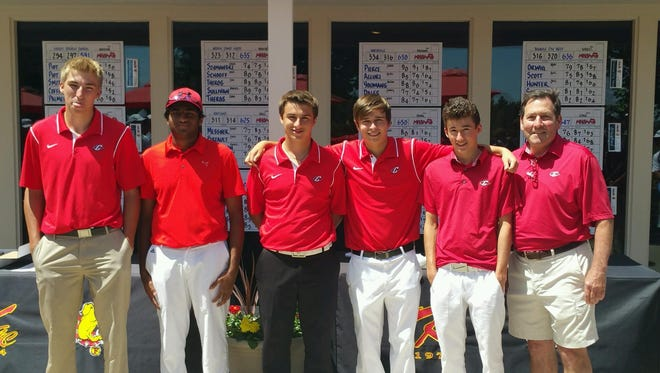Canton finished third at the Division 1 boys golf finals at Ferris State's Katke Golf Course. From left are Hunter Schlampp, Suhas Potluri, Brian Oldani, Donnie Trosper, Noah Lindlbauer and Chiefs head coach Tom Alles.
