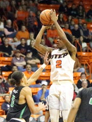 UTEP guard Omega Harris goes up for a shot against North Texas Thursday night,