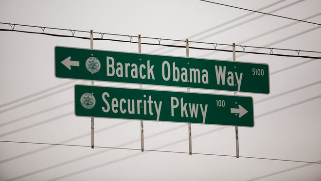 New signage at the intersection of Security Parkway and Grantline in New Albany, Ind shows the newly named Barack Obama Way. Jan 18, 2017