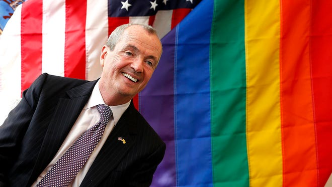 Phil Murphy, a Democratic candidate for New Jersey governor, speaks April 13, 2017, during a roundtable discussion at Garden State Equality in Asbury Park, N.J.