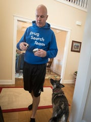 Annville resident Fred Nell operates a private business with a drug sniffing dog, Sadie. Nell's stated goal is to help drug abusers stay clean.