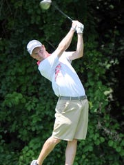 Kory Roberts tees off during the Cal-Am golf tourney Saturday afternoon at Binder Park golf course.