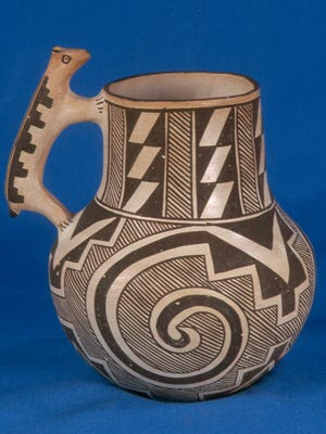 """This Acoma pot, created by Juana Leno in the  late 1940s, is part of the exhibit """"A Piece of the Enchanted Land: Ceramic Creations From New Mexico Pueblos."""""""