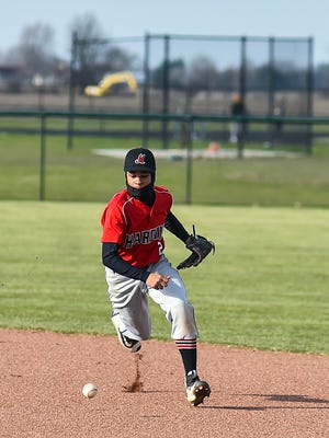 Harding's Tahvean Mason fields a grounder in a game at River Valley last week. The Presidents lost 9-0, but have won three games so far this year, up from one win a year ago.