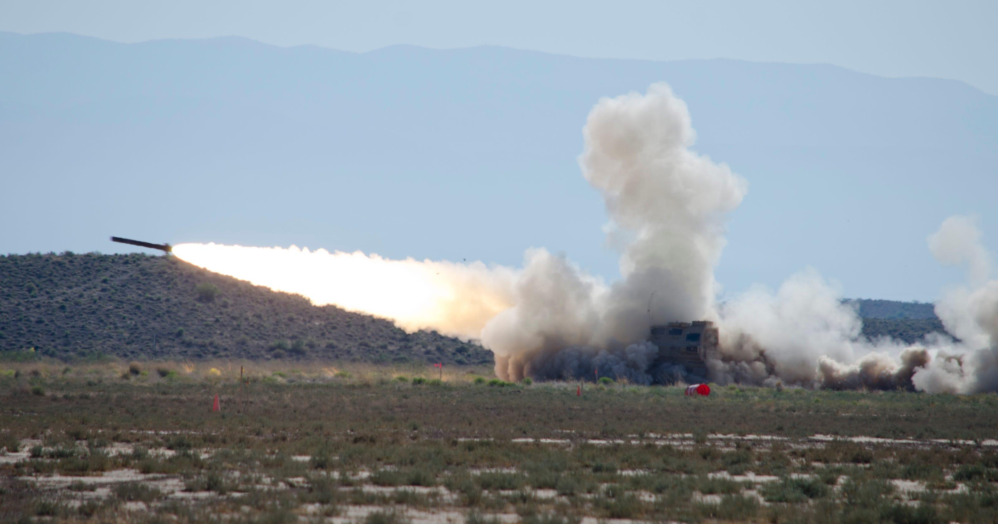 White Sands Missile Range test missile streaks across