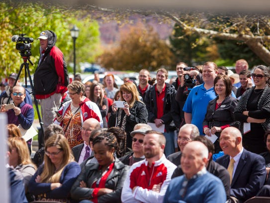 The crowd listens during the groundbreaking ceremony