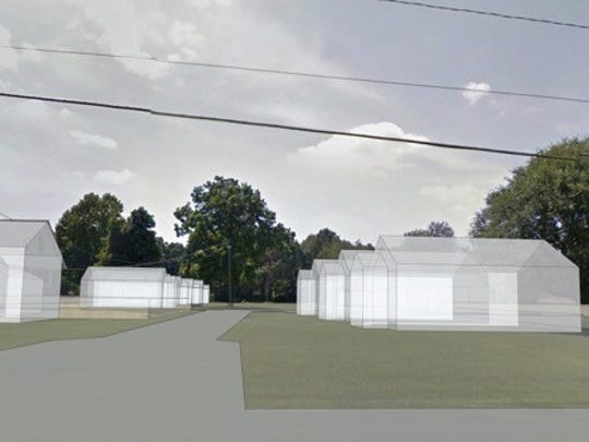 A rendering of Oak Grove Commons, a proposed gated