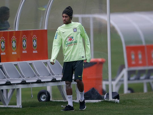 Brazil's Neymar is seen during a training session at the Granja Comary training center in Teresopolis, Brazil, Tuesday, July 1, 2014. Brazil will face Colombia on July 4 in a quarter-final of the 2014 soccer World Cup. (AP Photo/Andre Penner)