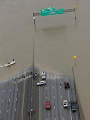 Interstate 10 is closed due to floodwaters from Tropical