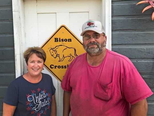 Bison farmers Patricia and Greg Kummrow, owners of Battle Creek Beef & Bison, offer bison meat directly from their family farm in Summit.