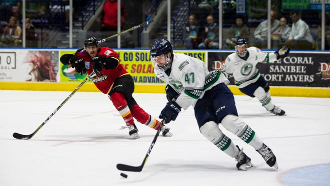 Florida Everblades defenseman Logan Roe carries the puck during game two of the Eastern Conference Finals against the Adirondack Thunder at Germain Arena on Saturday, May 12, 2018.