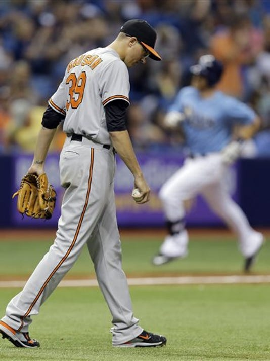 Baltimore Orioles pitcher Kevin Gausman (39) walks back to the mound as Tampa Bay's Logan Forsythe, right, runs around the bases after Forsythe hit a three-run home run during the fifth inning Sunday in St. Petersburg, Florida.