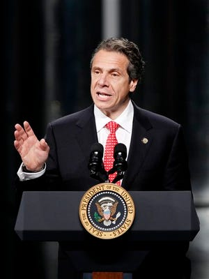 Gov. Andrew Cuomo speaks as he introduces President Barack Obama at the University at Albany's College of Nanoscale Science and Engineering in Albany, N.Y., Tuesday, May 8, 2012