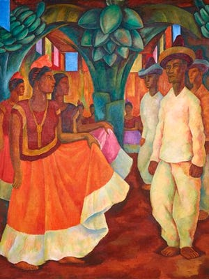 """This undated photo provided by the Phillips Auction House shows Diego Rivera's """"Baile en Tehuantepec."""" Phillips Auction House says that the painting that has sold privately for $15.7 million sets a world record price for any work of Latin American art. The figure nearly duplicates the previous record of Latin American art set for Frida Kahlo's """"Dos desnudos en el bosque,"""" which sold for more than $8 million at a Sotheby's public auction on May 12, 2016."""