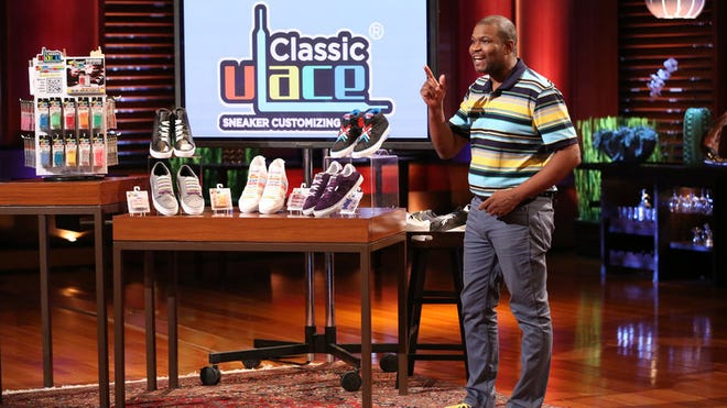 Rochester's Tim Talley pitches his company, U-Lace, on ABC's Shark Tank earlier this month.