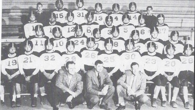 The 1951 La Junta High School state football championship team. Back row (from left): manager Ernie Garcia, Vernon Duenas, Glenn Sheel, Bob Powell, Alex Geisler, Don Seamons and manager Joe Urioste. Second row (from left): Keith White, Danny Carrillo, Ken Grasmick, Harold Johnson, John Zamora, Vernon Schlegel, Billy Friedenberger and Paul Johnson. Third row (from left): Ruben Gutierrez, Manual Vigil, Tommy Valdivez, George LeBlanc, Alvin Bender, Buddy Cutrell, John Quick and John Griffith. Fourth row (from left): Jerre Church, Billy Hurt, Cal Kennedy, Stan May, Duane Mahoney, Floyd Hill, Bob Marshall, Theron Blackfortd, Homer Jenkins and Bill Rhodes. Front row: assistant coach George Zember, head coach Paul Tate and assistant coach Carl Antoine.