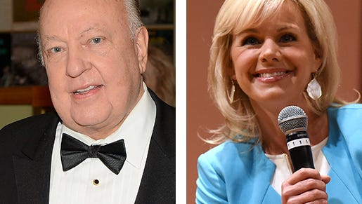 A sexual  harassment lawsuit filed by former Fox host Gretchen Carlson, right,  led the network's powerful CEO Roger Ailes, left, to resign Thursday.