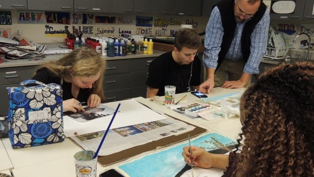 Students in James Ruback's visual arts class at Cape Henlopen High School will have their work displayed at the Milton Arts Guild March 2-26.