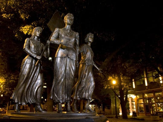 The Tennessee Women's Suffrage Memorial at the entrance