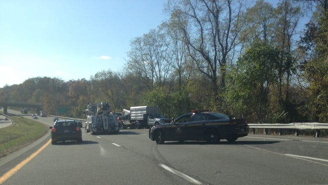Reporter Swapna Venugopal-Ramaswamy shared this image of the emergency response north of Exit 1 that triggered this morning's massive backups on I-684.