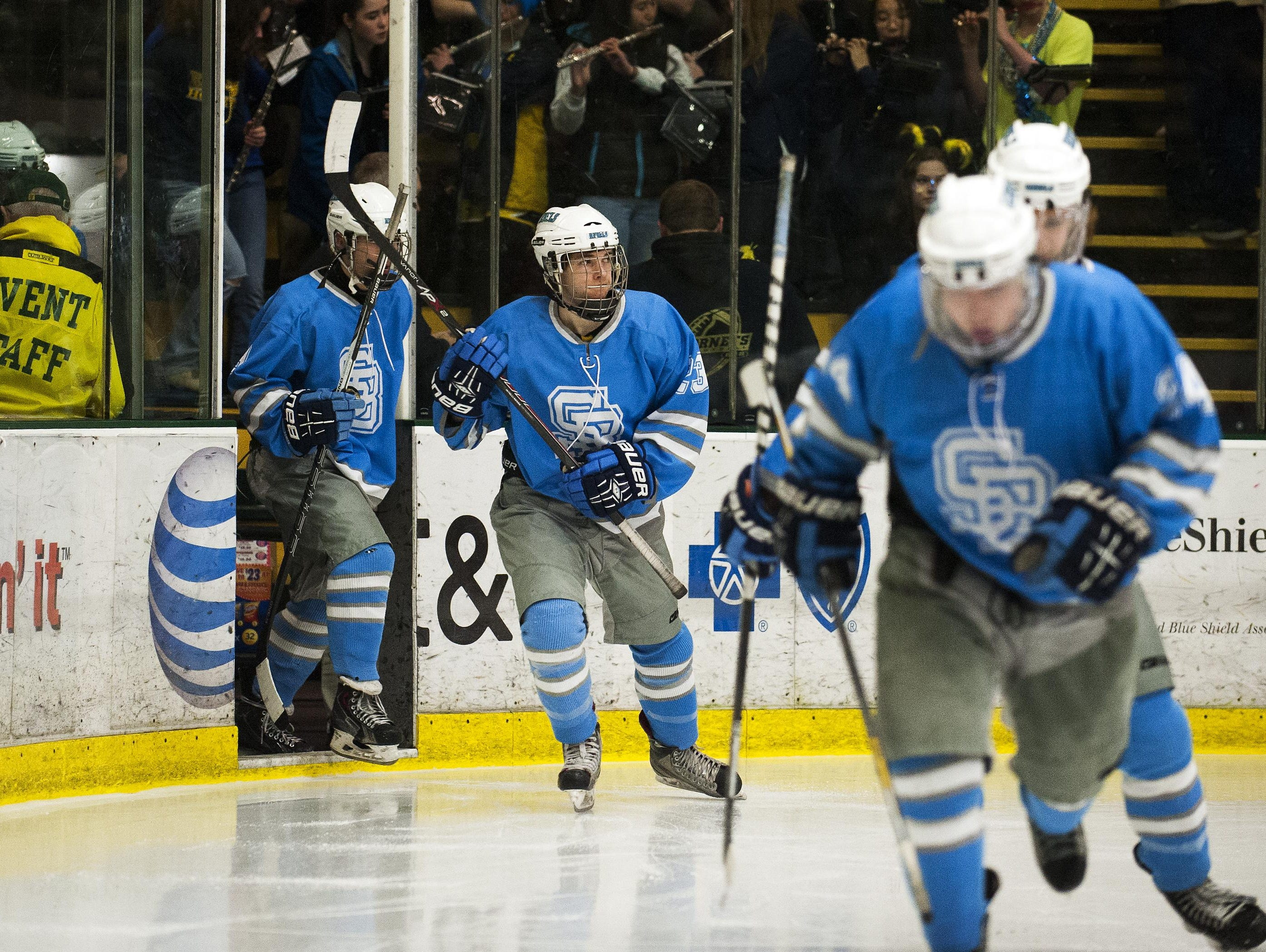 South Burlington takes the ice for the third overtime period during the division I high school boys hockey championship between the South Burlington Rebels and the Essex Hornets at Gutterson Fieldhouse on March 9.