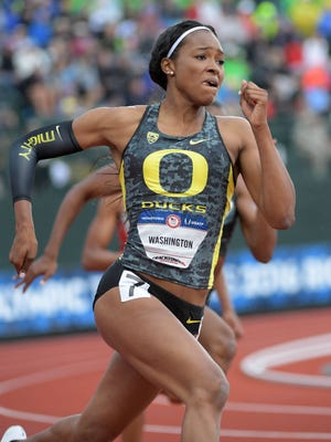 Jul 8, 2016; Eugene, OR, USA; Ariana Washington competes during the womenÕs 200m first round heats in the 2016 U.S. Olympic track and field team trials at Hayward Field. Mandatory Credit: Kirby Lee-USA TODAY Sports