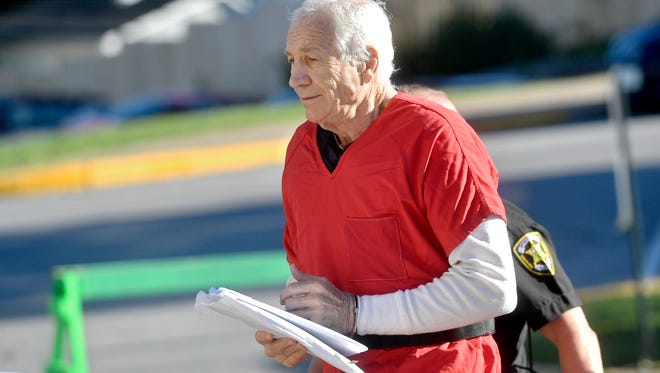 Jerry Sandusky arrives at the Centre County Courthouse, Monday, Aug. 22, 2016, in Bellefonte, Pa. The second day of Sandusky's appeal hearing is getting underway on Monday. The former Penn State assistant football coach insists he's innocent and is seeking to have his 45-count conviction thrown out or to get a new trial. (Abby Drey/Centre Daily Times via AP)