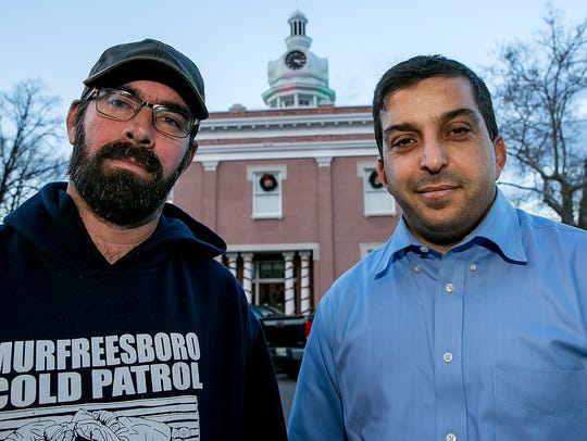 Jason Bennett, left, with the Murfreesboro Cold Patrol,