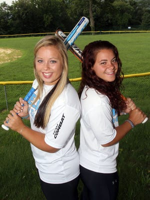 From left, Former Haldane High School softball standouts Chelsea and Sam Lisikatos recently competed for Greece at the recent Softball World Championships. The sister are photographed at Haldane High School Aug. 6, 2016.
