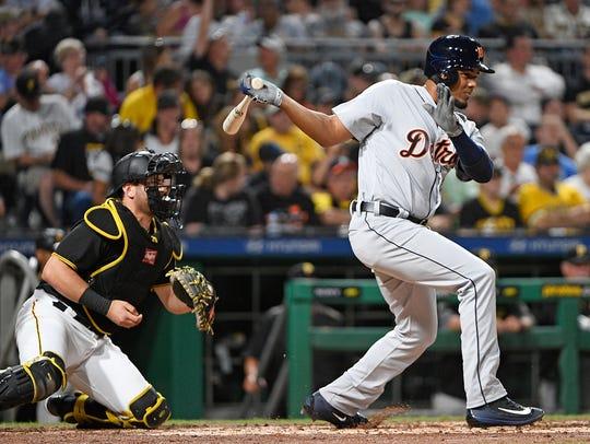 Tigers third baseman Jeimer Candelario singles to right
