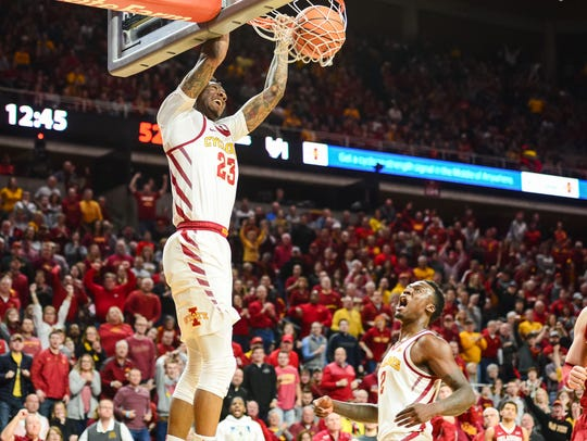 Iowa State Cyclones forward Zoran Talley Jr. (23) completes