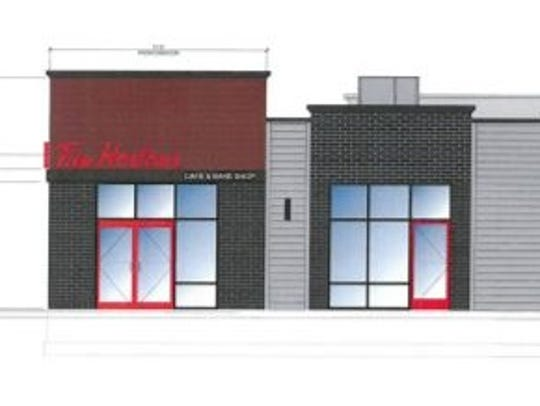 The proposed exterior of the anticipated Tim Hortons
