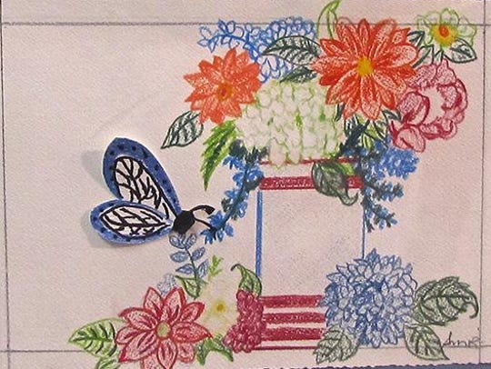 """""""Butterfly and Flowers,"""" mixed-media assemblage by"""