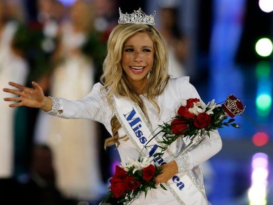 Miss New York Kira Kazantsev, right, walks the runway after she was named Miss America 2015 during the Miss America 2015 pageant, Sunday, Sept. 14, 2014, in Atlantic City, N.J.