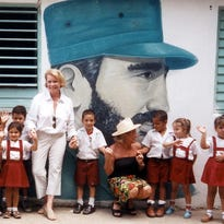 Kate Moody with school children in Cuba.