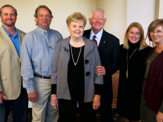 The Dr. Juan Watkins family at National Philanthropy Day Luncheon: Brent Watkins,  Dr. Will Watkins, Bonnie and Dr. Juan Watkins, Amy Watkins, Melissa Pool. Brother/son Craig Watkins was not able to attend.
