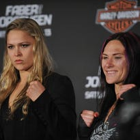Rousey and Zingano pose during a 2011 press conference.