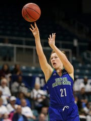 Islanders' Emma Young shoots against Central Arkansas during the Southland Conference Tournament on Saturday, March 11, 2017, at the Merrell Center in Katy.