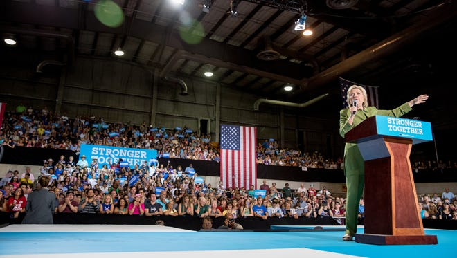 Hillary Clinton speaks at a rally in Entertainment Hall at the Florida State Fairgrounds in Tampa on July 22, 2016.