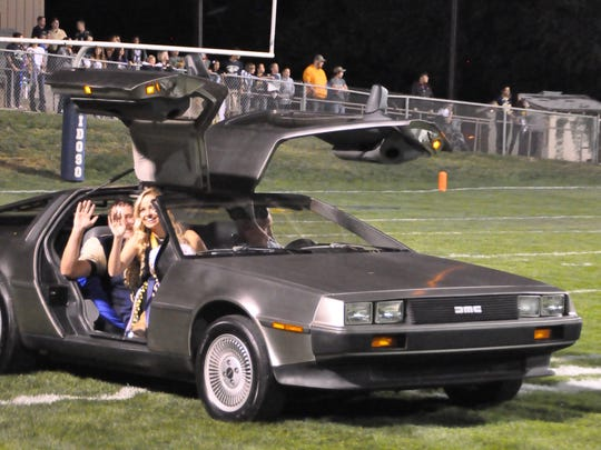 "It was ""Back to the Future"" as a Delorean cruises down the football field carrying RHS Homecoming royalty."