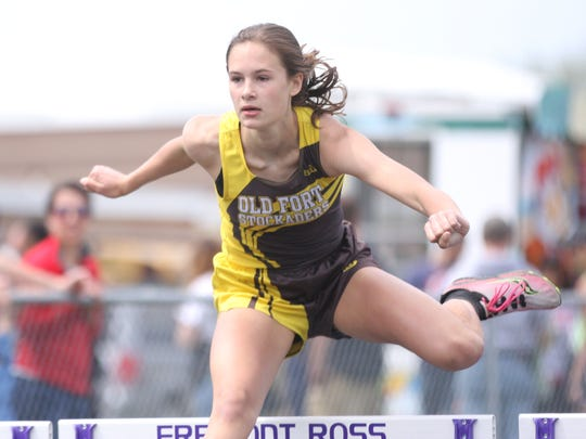 Old Fort's Jenna Clouse runs in the 300m hurdles. The