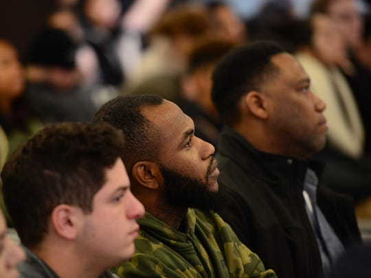 Entrepreneur and author Randal Pinkett, Ph.D, speaks at Berkeley College, Woodland Park campus, as its 2017 Black History Month Guest Speaker. Dr. Pinkett lectured students, faculty and guests about ways to obtain an entrepreneur mindset, and share lessons he has learned on his road toward success.  Tariq Zehawi/NorthJersey.com