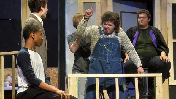 Christensen Biller in the role of Bob Ewell rehearses