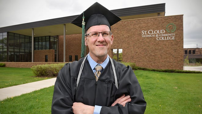 Pete Barrett graduated Friday with a nursing degree from St. Cloud Technical & Community College in St. Cloud. Barrett was inspired to become a nurse after caring for his first wive, who lived almost 20 years after a cancer diagnosis. Barrett works at St. Cloud VA Health Care System.
