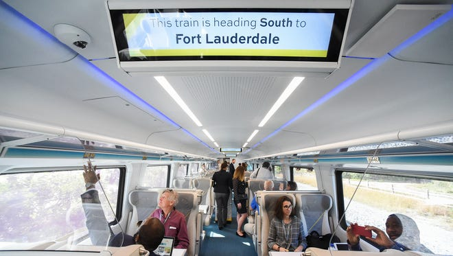 Brightline executives, elected officials, and media personnel made the introductory trip between West Palm Beach and Fort Lauderdale Friday, Jan. 12, 2018, during an invitation-only media preview ride beginning and ending at the Brightline West Palm Beach station. Brightline is currently selling tickets and passes both online and on their mobile app and will begin service for the general public beginning Saturday, Jan. 13.