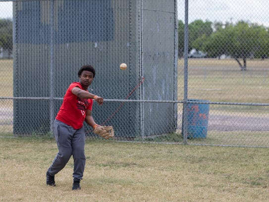 Refugio catcher Jacobe Avery warms up during practice