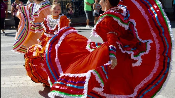 Hispanic dancers entertain the crowds at Ballinger's April 2019 Ethnic Festival. Every year, Ballinger celebrates cultures from around the world. September 15 - October 15 is Hispanic Heritage Month.