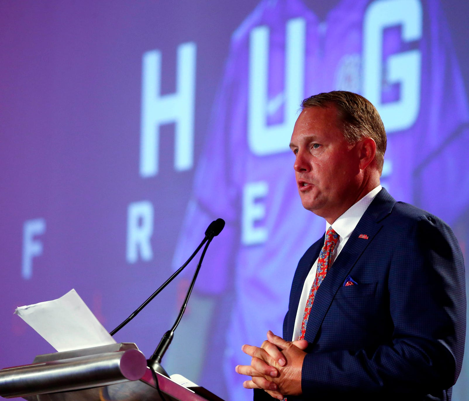 Mississippi NCAA college football coach Hugh Freeze speaks during the Southeastern Conference's annual media gathering July 13, 2017 in Hoover, Ala.