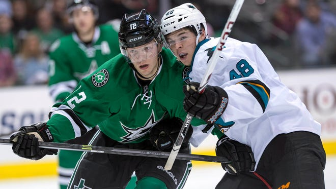 San Jose Sharks rookie Tomas Hertl, right, is getting the attention, but Dallas Stars rookie Alex Chiasson is putting together a solid season.